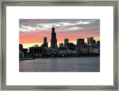 sunset Chicago Framed Print by David Flitman