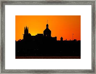 Sunset City Semi-silhouette Framed Print by Paul Wash