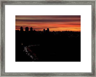 Sunset Commuters Framed Print by Lisa Knechtel