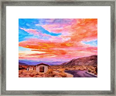 Sunset From Palm Canyon Framed Print by Michael Pickett