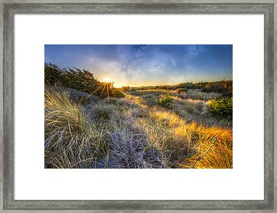 Sunset Glow On The Dunes Framed Print by Debra and Dave Vanderlaan