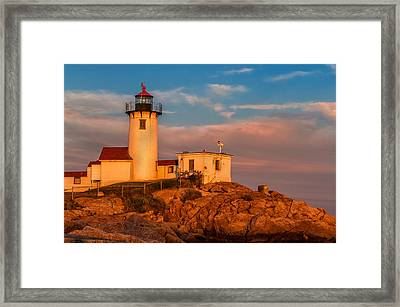 Sunset Glow On The Eastern Point Lighthouse Framed Print by Thomas Schoeller