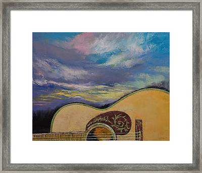 Sunset Guitar Framed Print by Michael Creese