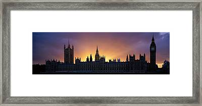 Sunset Houses Of Parliament & Big Ben Framed Print by Panoramic Images