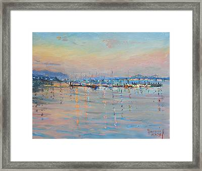 Sunset In Piermont Harbor Ny Framed Print by Ylli Haruni