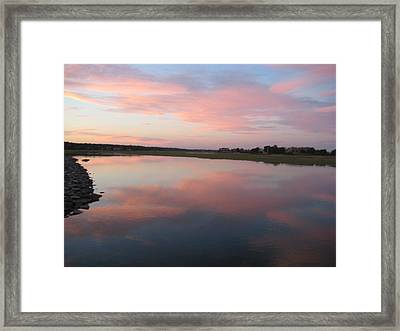 Sunset In Pink And Blue Framed Print by Melissa McCrann