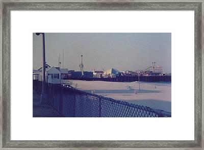 Sunset In Seaside Heights Nj Framed Print by Joann Renner