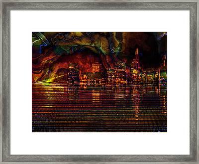 Sunset In The City Framed Print by Kiki Art