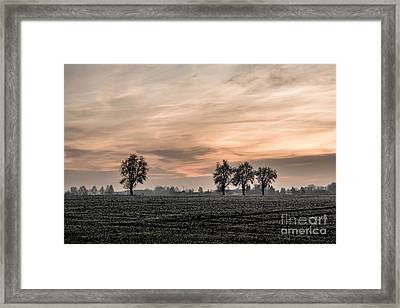 Sunset In The Country - Orange Framed Print by Hannes Cmarits