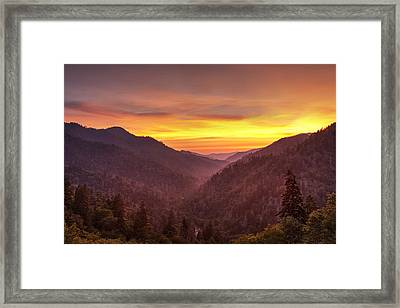 Sunset In The Mountains Framed Print by Andrew Soundarajan