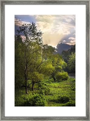 Sunset In The Valley Framed Print by Debra and Dave Vanderlaan