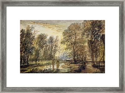 Sunset In The Wood Framed Print by Aert van der Neer