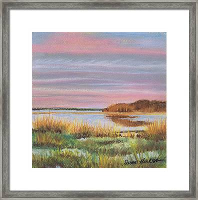 Sunset Jessups Neck Framed Print by Susan Herbst