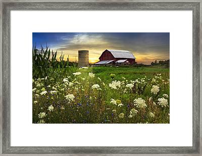 Sunset Lace Pastures Framed Print by Debra and Dave Vanderlaan