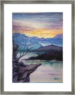 Sunset Montains Framed Print by Alban Dizdari