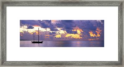Sunset Moorea French Polynesia Framed Print by Panoramic Images