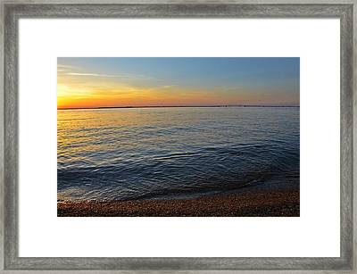 Sunset Near Chesapeake Bay Bridge Framed Print by Marianna Mills
