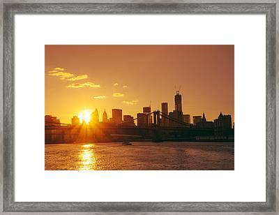 Sunset - New York City Framed Print by Vivienne Gucwa