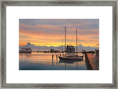 Sunset-north Dock At Pelee Island   Framed Print by Paul Krapf