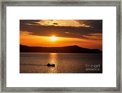 Sunset Off The Island Of Santorini Framed Print by MaryJane Armstrong