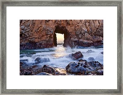 Sunset On Arch Rock In Pfeiffer Beach Big Sur California. Framed Print by Jamie Pham
