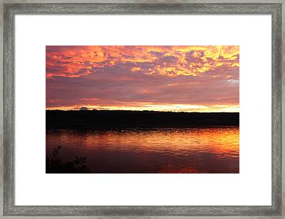 Sunset On Cayuga Lake Cornell Sailing Center Ithaca New York II Framed Print by Paul Ge
