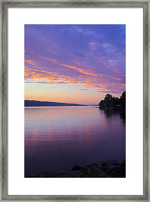 Sunset On Cayuga Lake Cornell Sailing Center Ithaca New York IIi Framed Print by Paul Ge