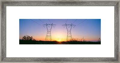 Sunset On Electrical Transmission Framed Print by Panoramic Images