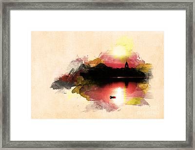 Sunset On Lake Framed Print by Martin Dzurjanik