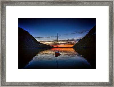 Sunset On Lake Willoughby Framed Print by John Haldane