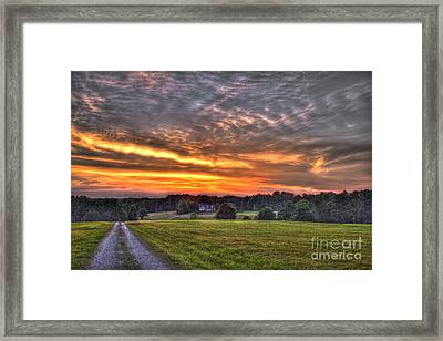 Take Me Home Sunset On Lick Skillet Road  Framed Print by Reid Callaway