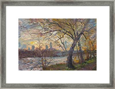 Sunset On Niagara River  Framed Print by Ylli Haruni