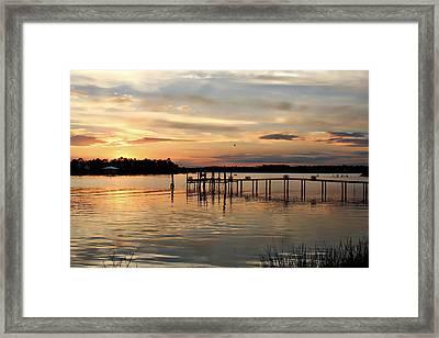 Sunset On Oyster Bay Framed Print by Lynn Jordan