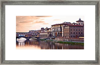 Sunset On Ponte Vecchio In Florence Framed Print by Susan  Schmitz