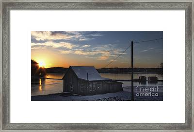 Sunset On The Bog Framed Print by Gina Cormier