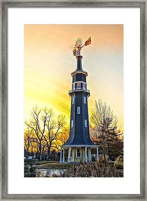 Sunset On The Dwight Windmill Framed Print by Thomas Woolworth
