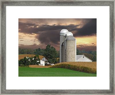 Sunset On The Farm Framed Print by David Dehner