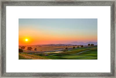 Sunset On The Greens Framed Print by Mike Lee