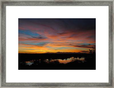 Sunset On The Lake Framed Print by Edward Curtis