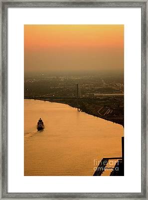 Sunset On The River Framed Print by Linda Shafer