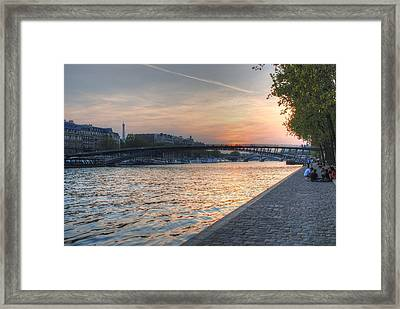Sunset On The Seine Framed Print by Jennifer Ancker