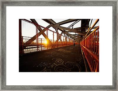 Sunset On The Williamsburg Bridge - New York City Framed Print by Vivienne Gucwa