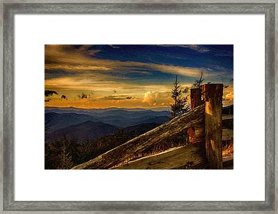 Sunset On Top Of Mount Mitchell Framed Print by John Haldane