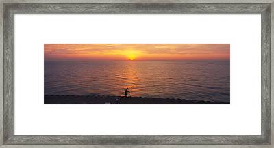 Sunset Over A Lake, Lake Michigan Framed Print by Panoramic Images