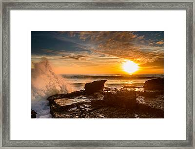 Sunset Over A Rough Sea I Framed Print by Marco Oliveira