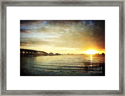 Sunset Over Biloxi Bay Framed Print by Joan McCool