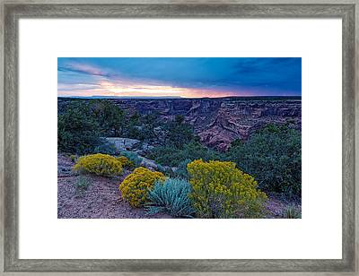 Sunset Over Black Mesa At Canyon De Chelly Framed Print by Silvio Ligutti