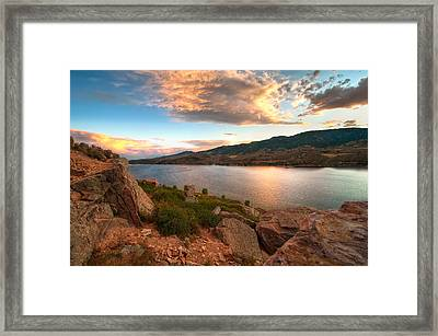 Sunset Over Horsetooth Framed Print by Preston Broadfoot