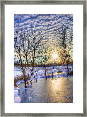 Sunset Over Ice Framed Print by William Wetmore