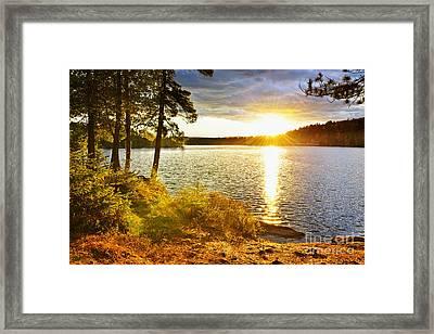 Sunset Over Lake Framed Print by Elena Elisseeva
